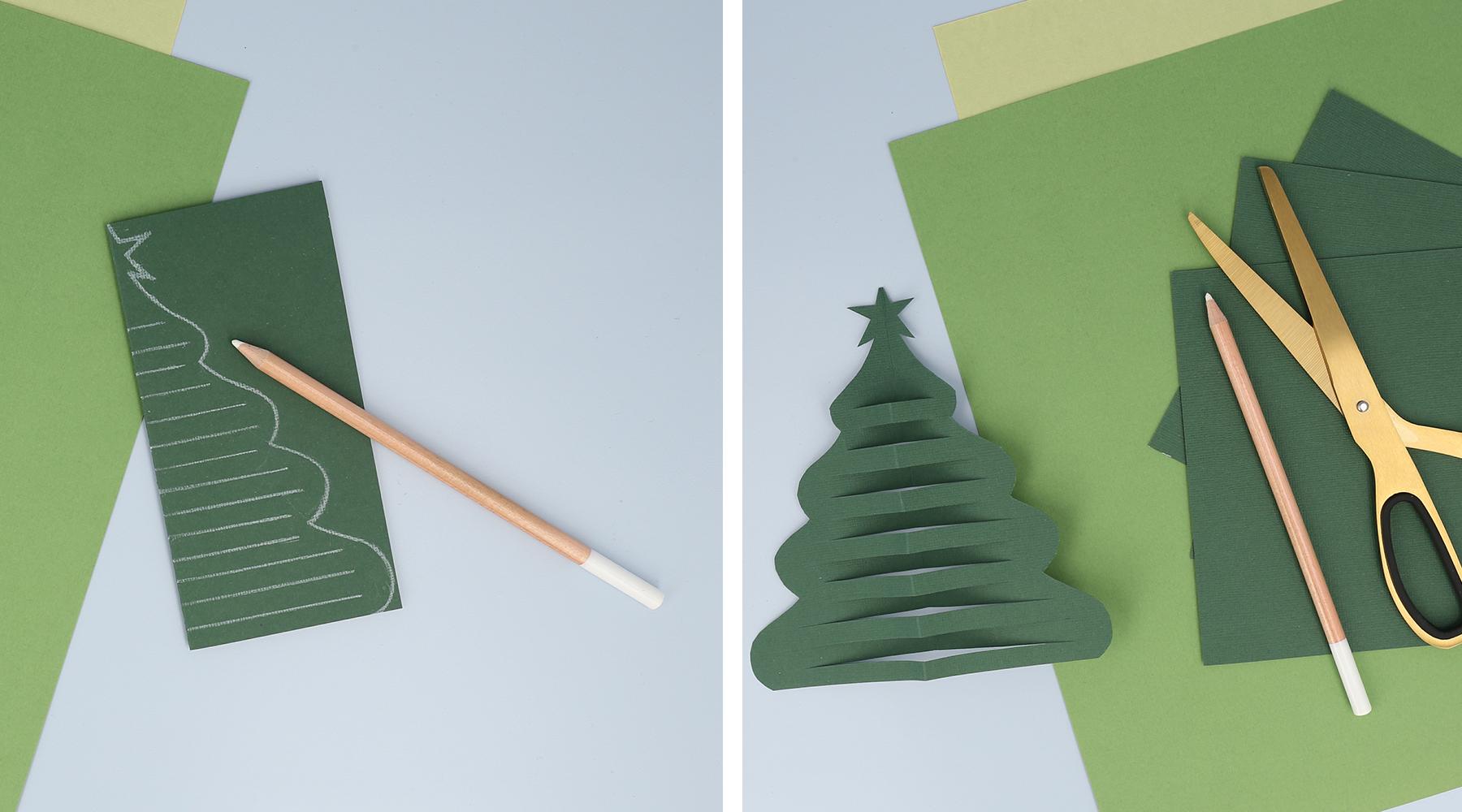 Dibuja y recorta un hermoso árbol de Navidad