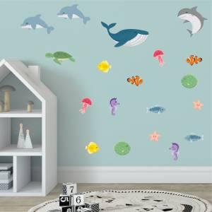 Adhesivos para pared con peces y animales del mar