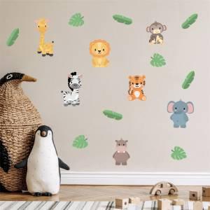 Adhesivos para pared con animales exóticos - crea magia en la habitación de los niños